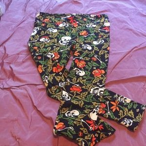LuLaRoe floral skeleton print leggings